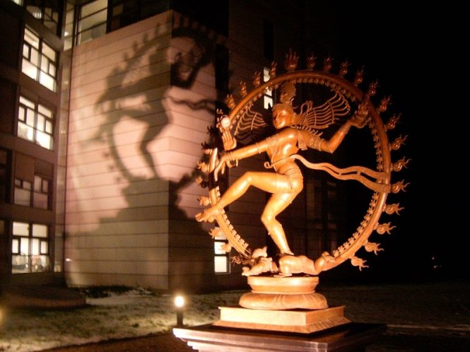 The picture above was taken in front of the CERN complex in Geneva, Switzerland. This statue of Shiva Nataraj is casting a shadow on the headquarters .