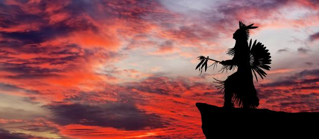 native-american-in-sunset-red